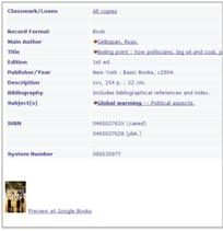 Google Books cover in the catalogue